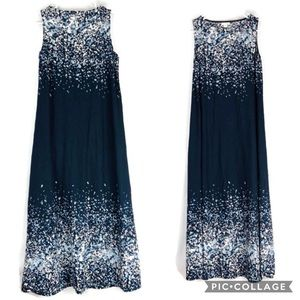 Pure J.jill Blue finger paint drops maxi dress EUC